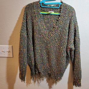 Nubby fringe boho v neck sweater